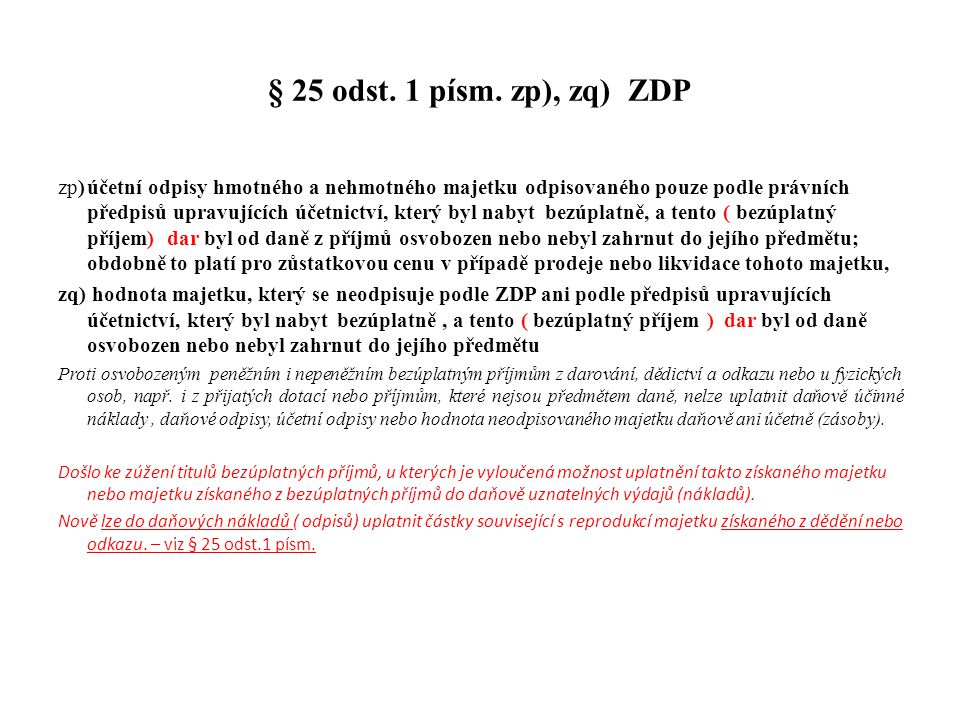 § 25 odst. 1 písm. zp), zq) ZDP
