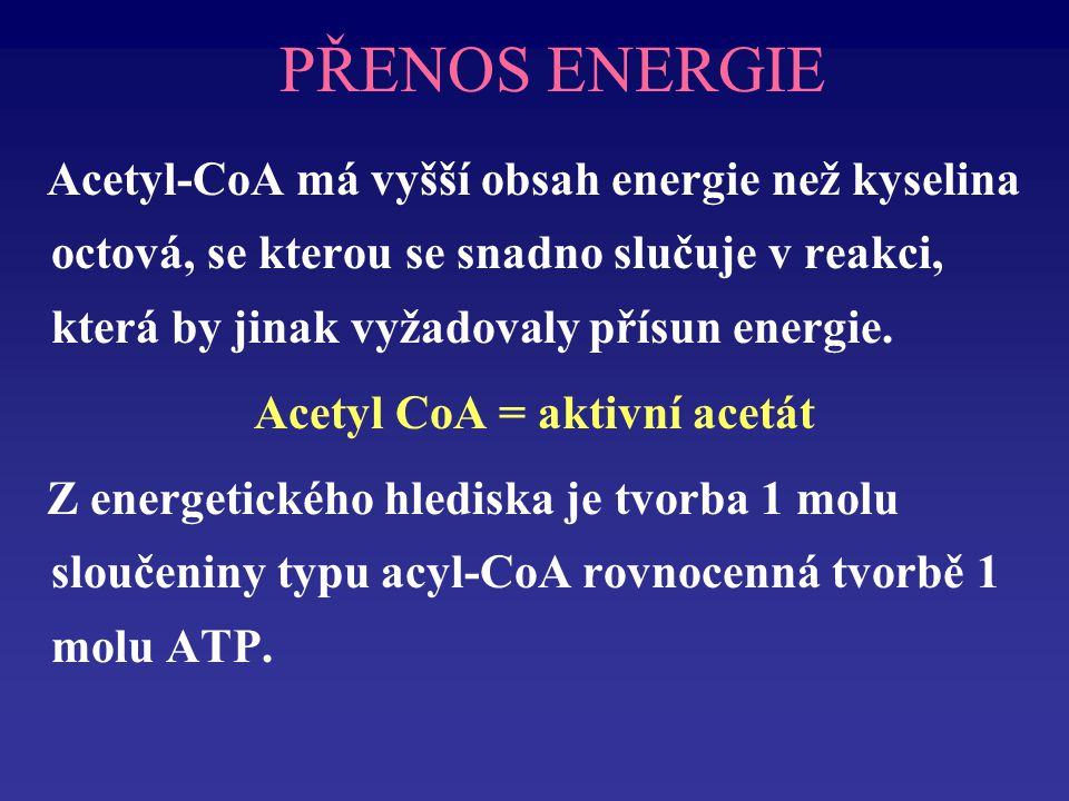 Acetyl CoA = aktivní acetát