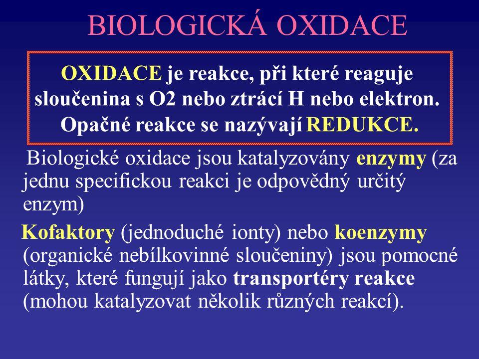 BIOLOGICKÁ OXIDACE OXIDACE je reakce, při které reaguje