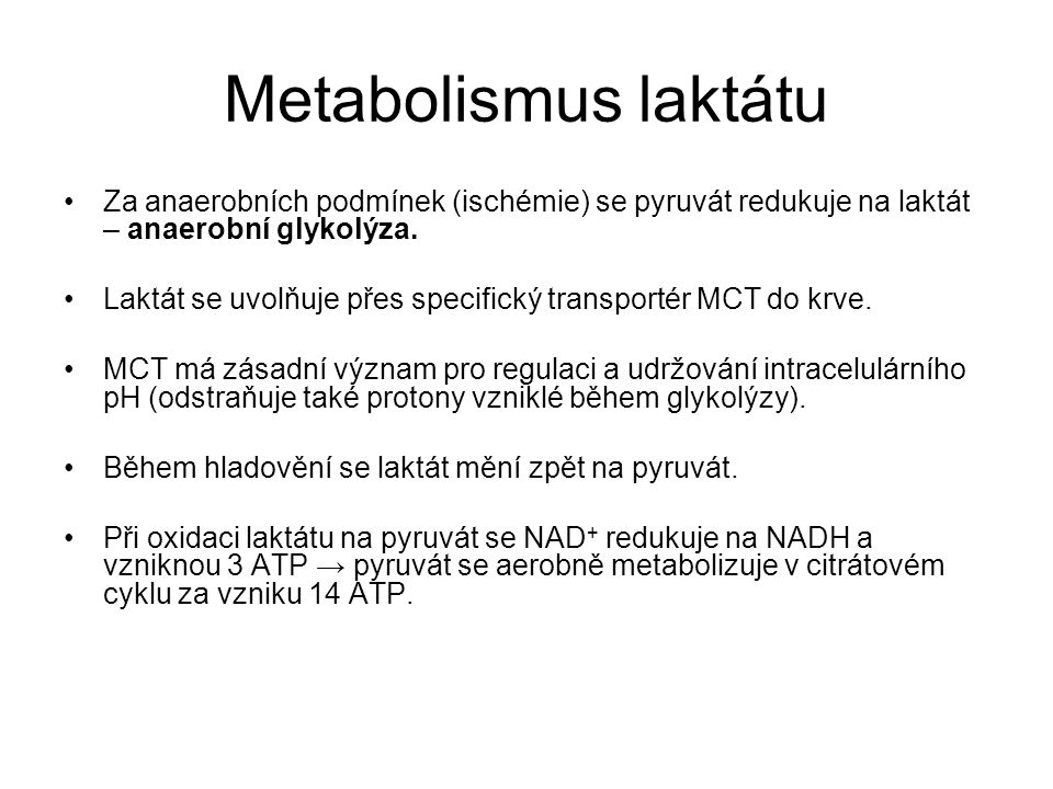 Metabolismus laktátu Za anaerobních podmínek (ischémie) se pyruvát redukuje na laktát – anaerobní glykolýza.