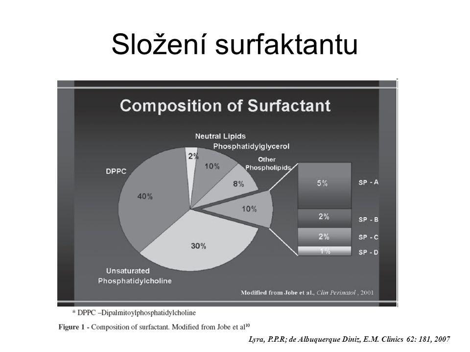 Složení surfaktantu Lyra, P.P.R; de Albuquerque Diniz, E.M. Clinics 62: 181, 2007