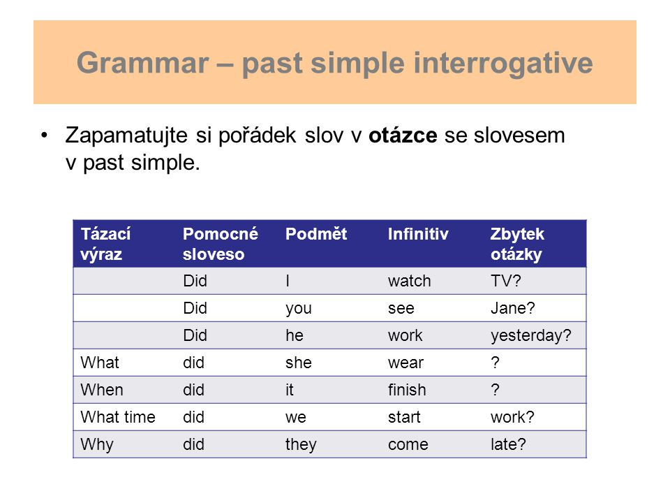 Grammar – past simple interrogative