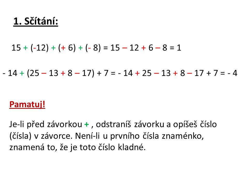 1. Sčítání: 15 + (-12) + (+ 6) + (- 8) = 15 – 12 + 6 – 8 = 1
