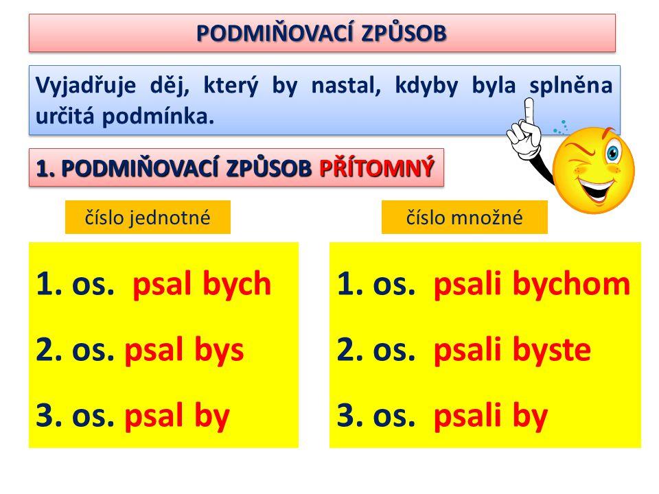 1. os. psal bych 2. os. psal bys 3. os. psal by 1. os. psali bychom