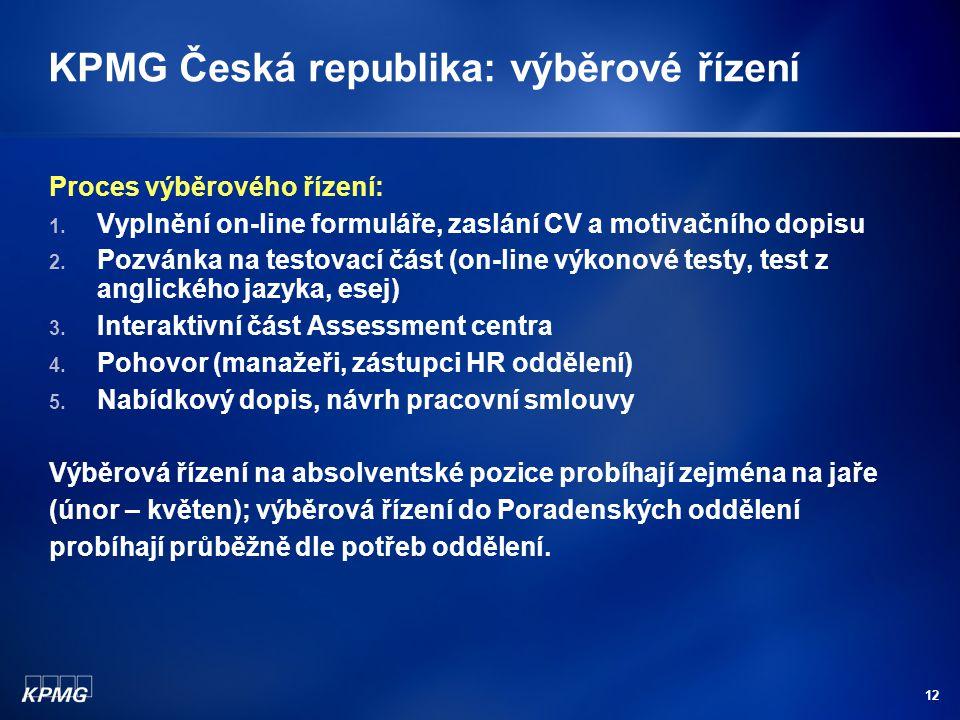KPMG Česká republika: výběrové řízení