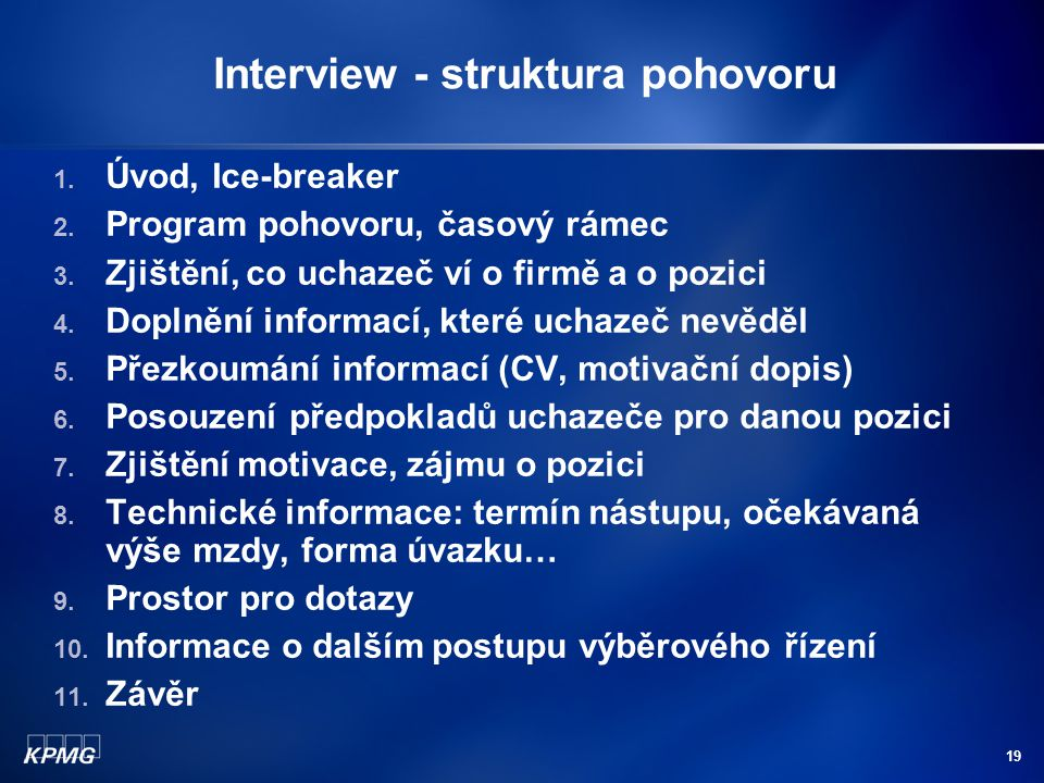 Interview - struktura pohovoru