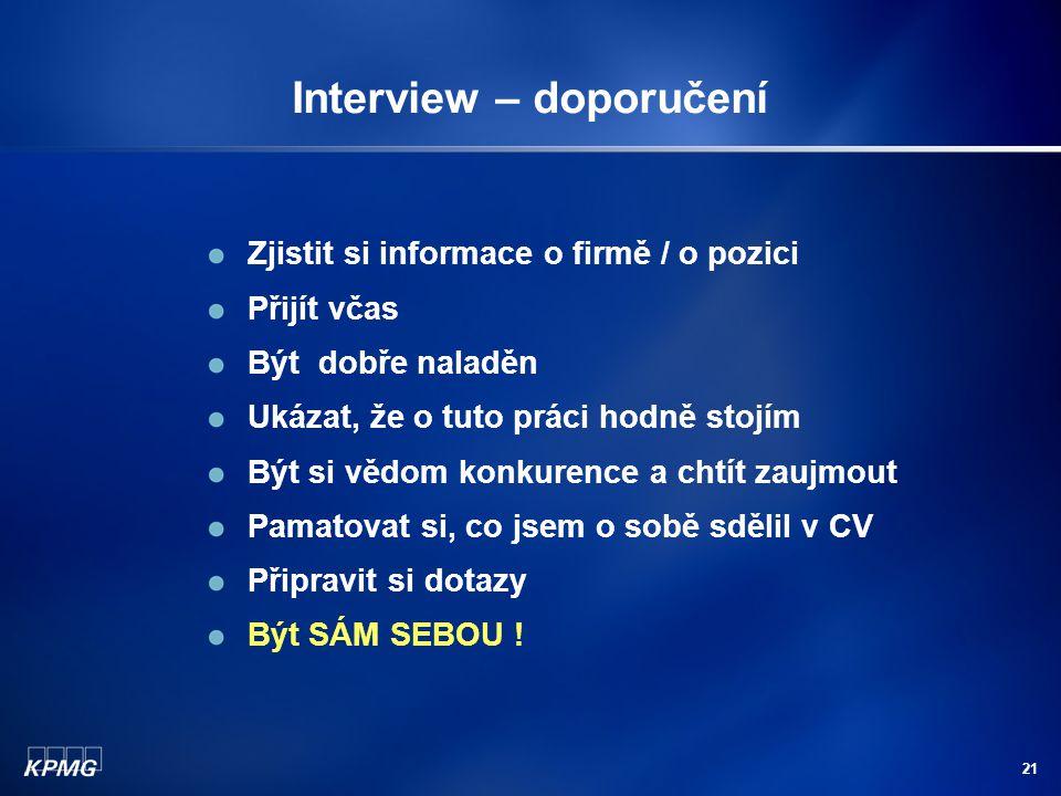 Interview – doporučení