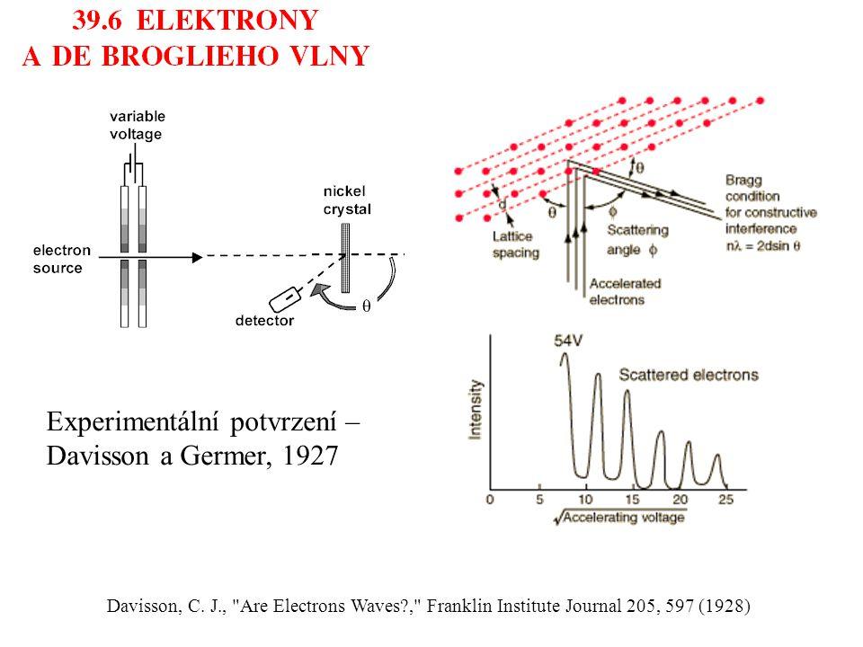 Experimentální potvrzení – Davisson a Germer, 1927