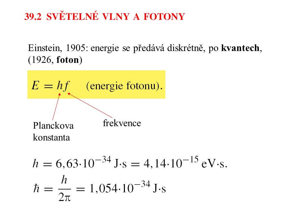 Einstein, 1905: energie se předává diskrétně, po kvantech, (1926, foton)