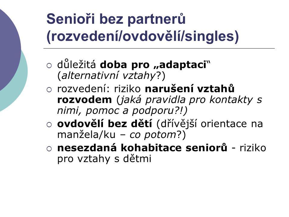 Senioři bez partnerů (rozvedení/ovdovělí/singles)