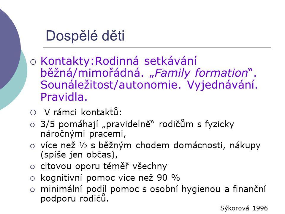 """Dospělé děti Kontakty:Rodinná setkávání běžná/mimořádná. """"Family formation . Sounáležitost/autonomie. Vyjednávání. Pravidla."""