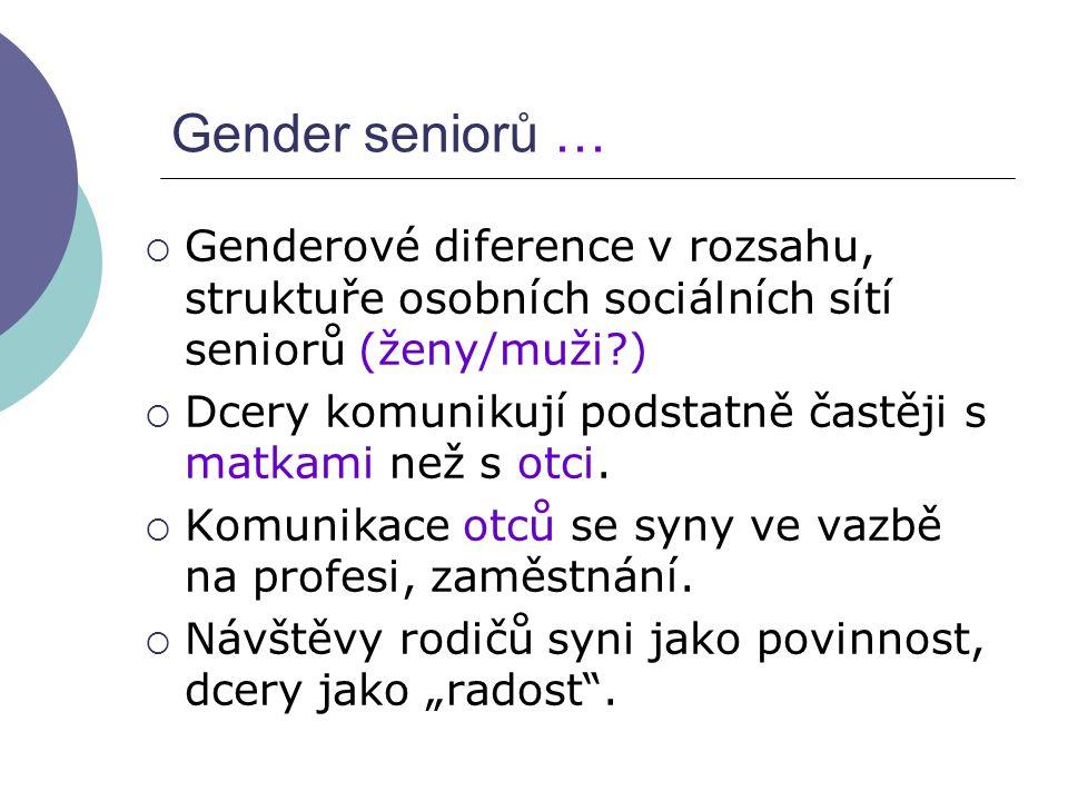 Gender seniorů … Genderové diference v rozsahu, struktuře osobních sociálních sítí seniorů (ženy/muži )