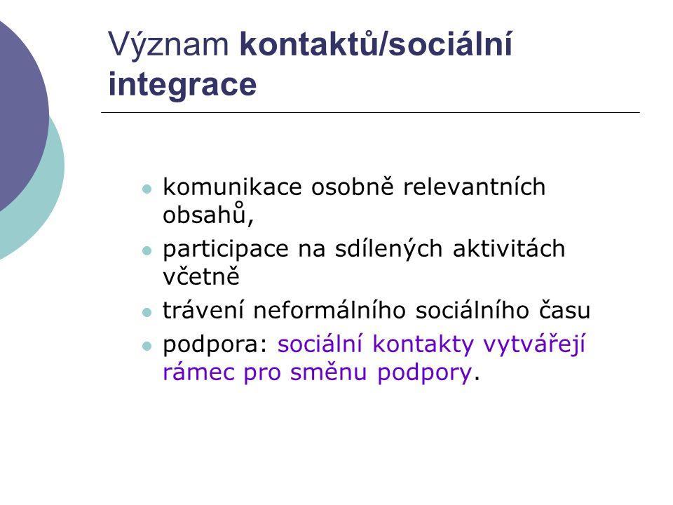 Význam kontaktů/sociální integrace