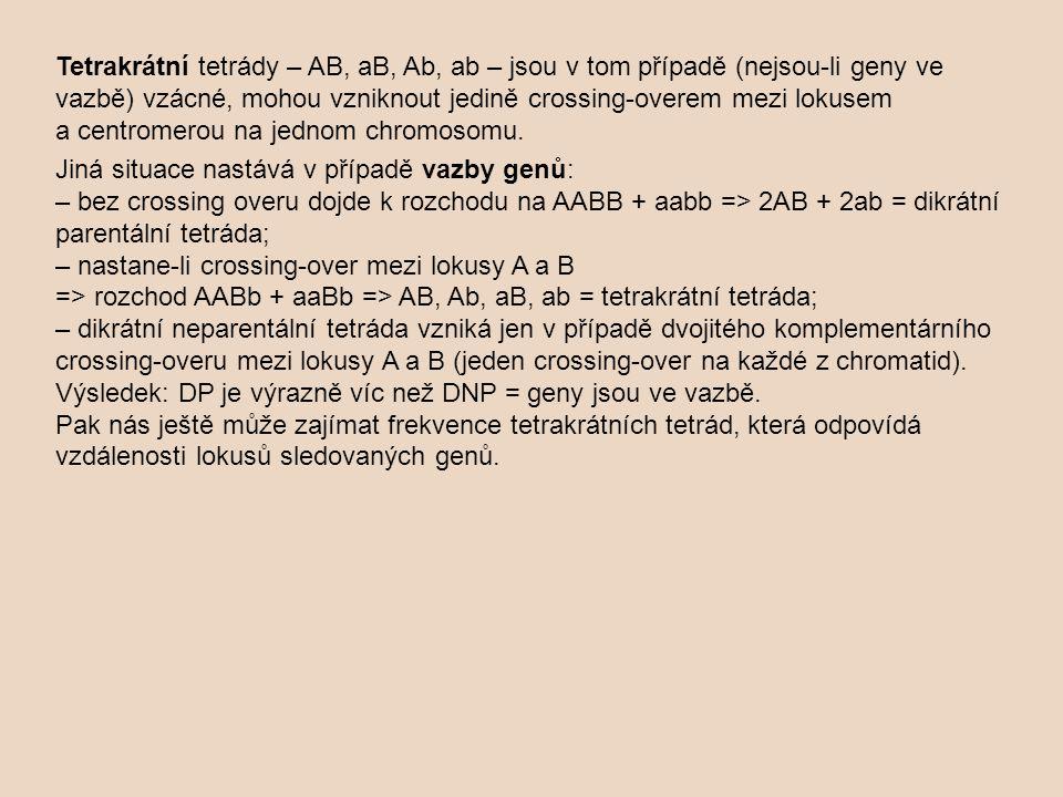 Tetrakrátní tetrády – AB, aB, Ab, ab – jsou v tom případě (nejsou-li geny ve vazbě) vzácné, mohou vzniknout jedině crossing-overem mezi lokusem a centromerou na jednom chromosomu.