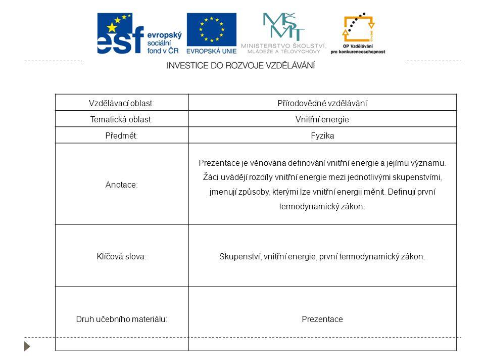 Přírodovědné vzdělávání Tematická oblast: Vnitřní energie Předmět:
