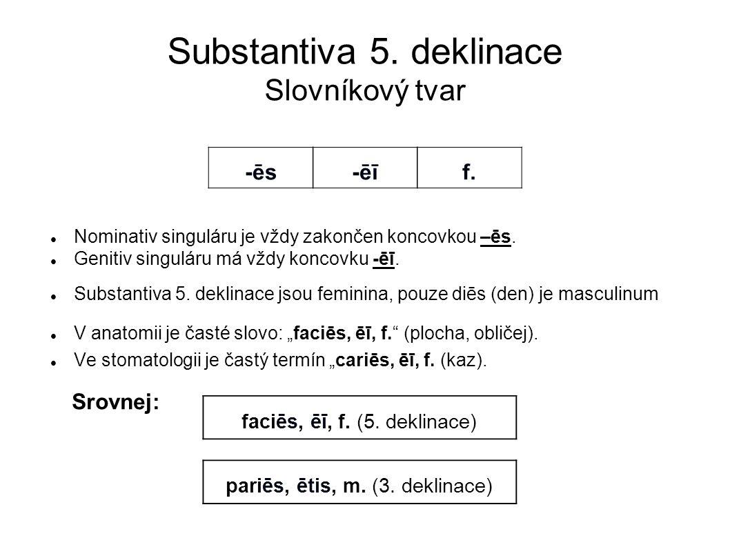 Substantiva 5. deklinace Slovníkový tvar