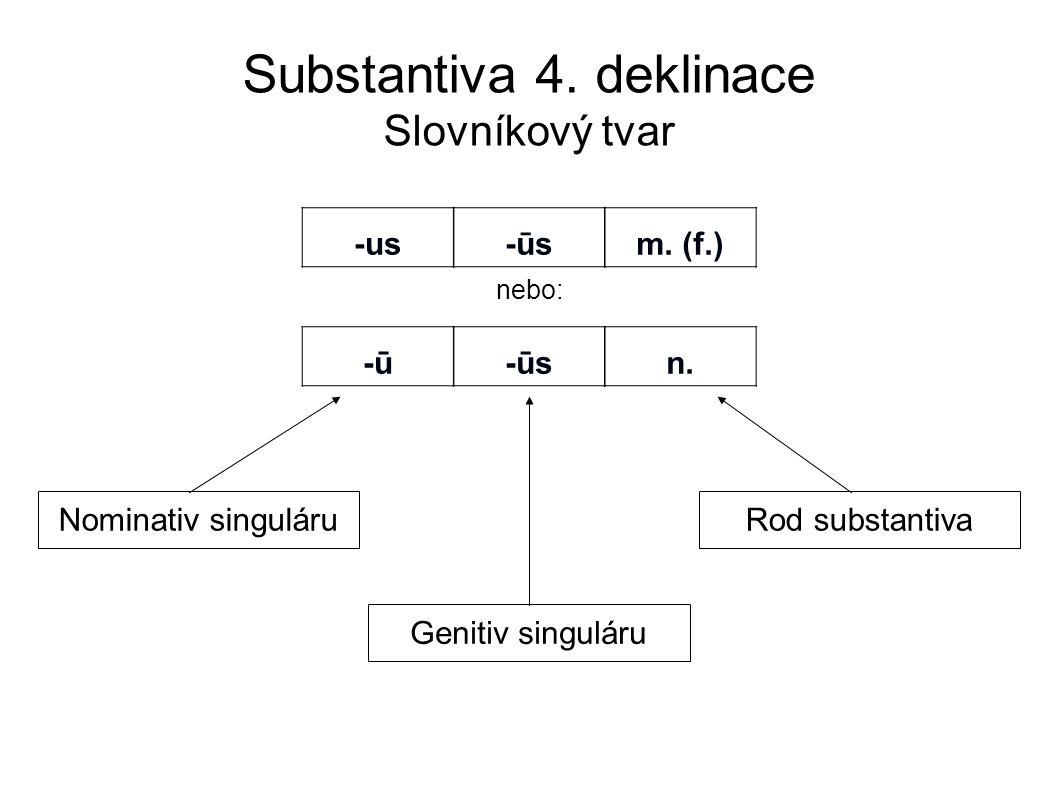 Substantiva 4. deklinace Slovníkový tvar