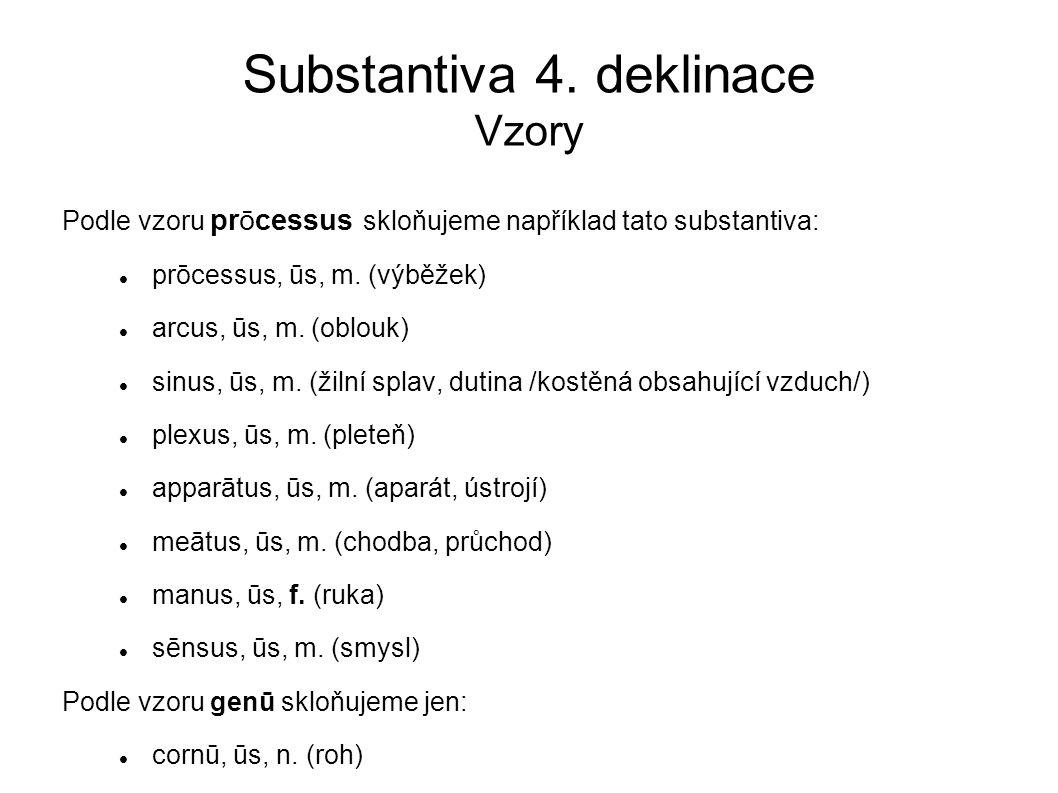 Substantiva 4. deklinace Vzory