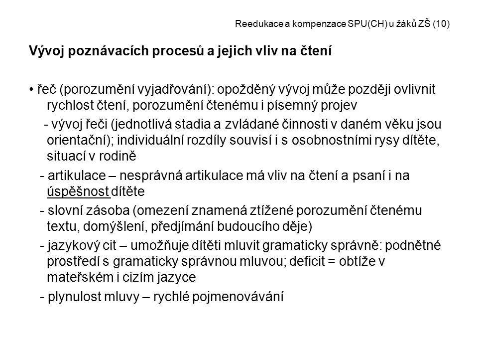 Reedukace a kompenzace SPU(CH) u žáků ZŠ (10)