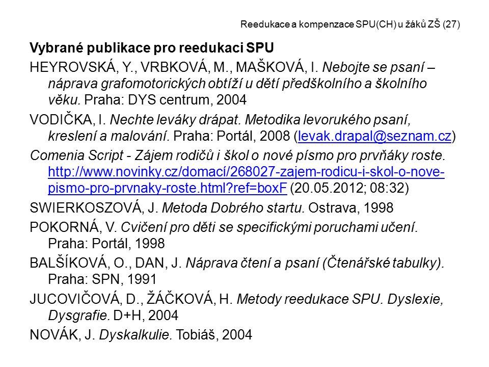 Reedukace a kompenzace SPU(CH) u žáků ZŠ (27)