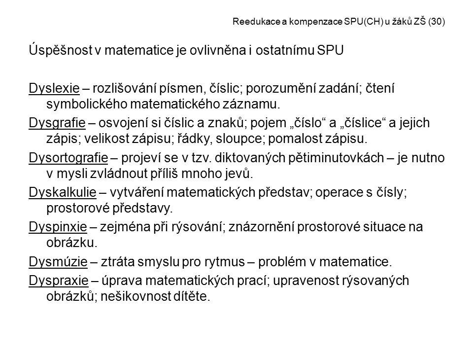 Reedukace a kompenzace SPU(CH) u žáků ZŠ (30)