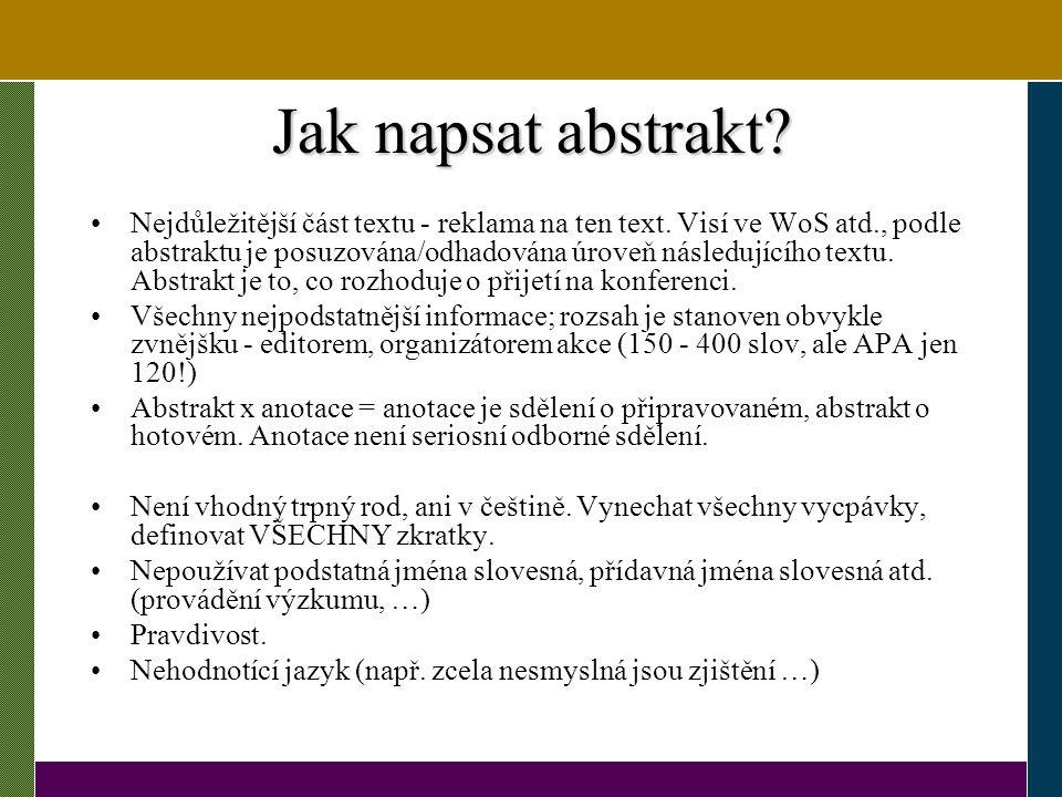 Jak napsat abstrakt