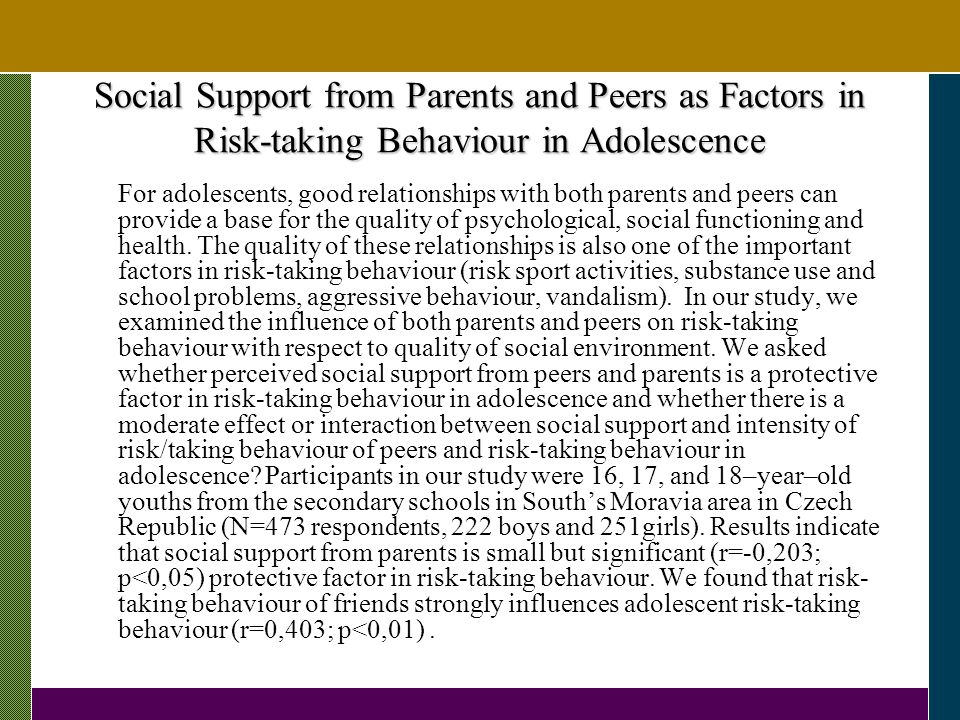 Social Support from Parents and Peers as Factors in Risk-taking Behaviour in Adolescence