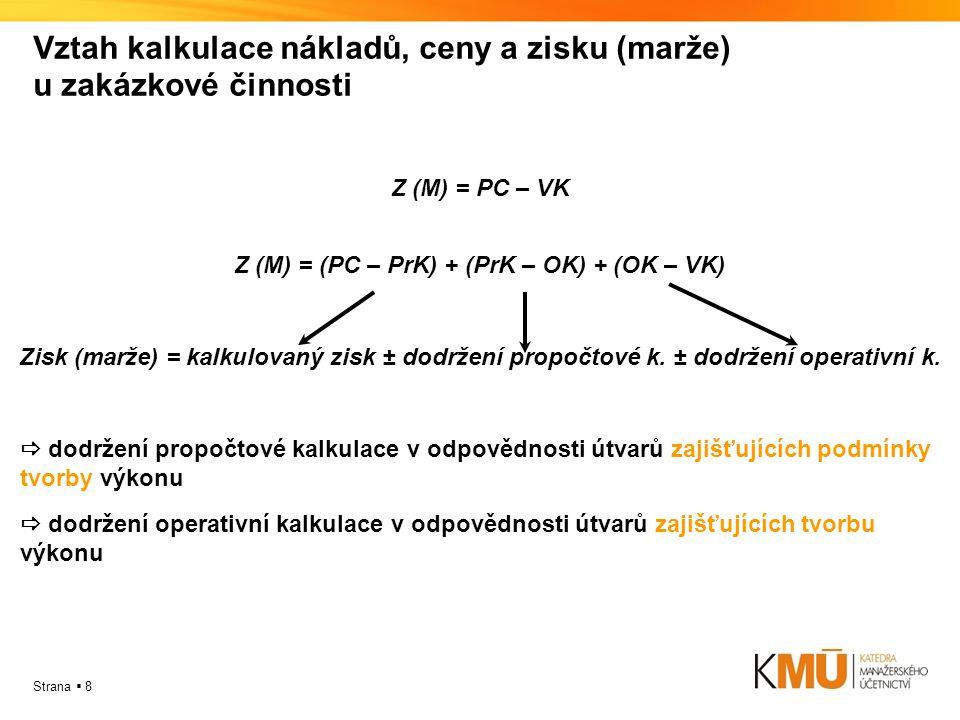 Vztah kalkulace nákladů, ceny a zisku (marže) u zakázkové činnosti