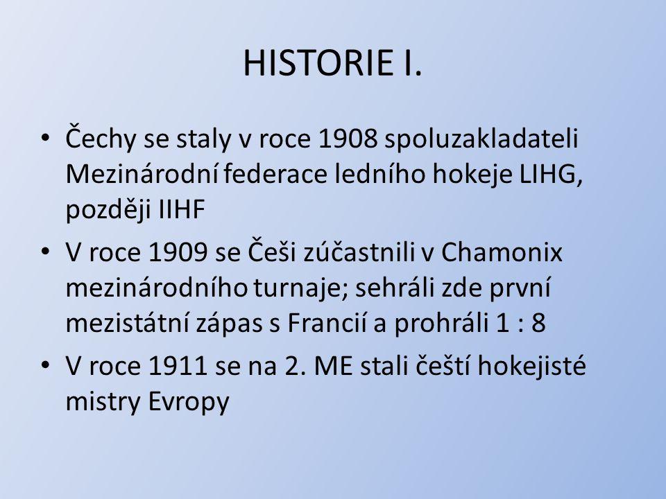 HISTORIE I. Čechy se staly v roce 1908 spoluzakladateli Mezinárodní federace ledního hokeje LIHG, později IIHF.
