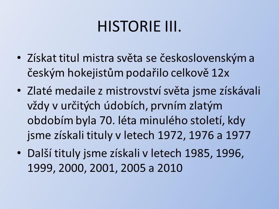 HISTORIE III. Získat titul mistra světa se československým a českým hokejistům podařilo celkově 12x.