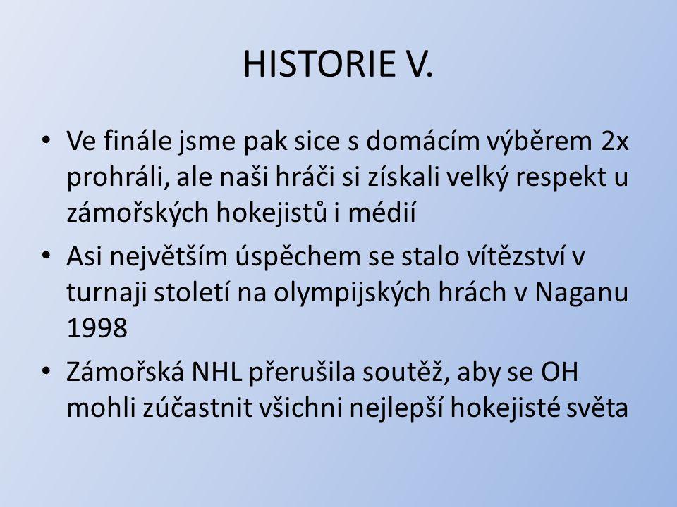 HISTORIE V. Ve finále jsme pak sice s domácím výběrem 2x prohráli, ale naši hráči si získali velký respekt u zámořských hokejistů i médií.