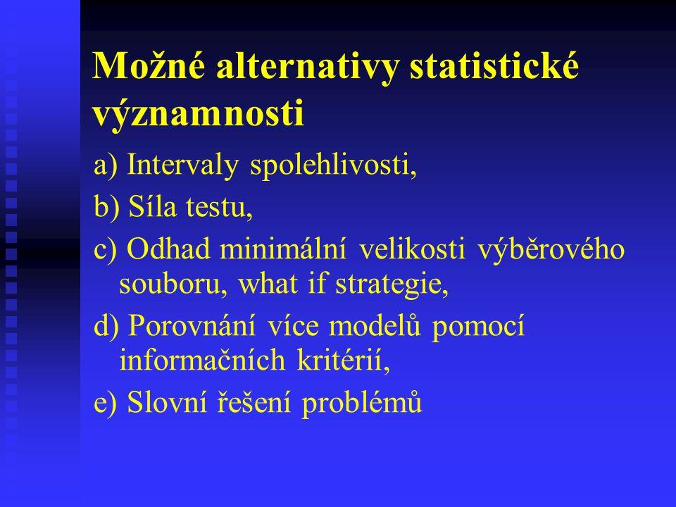 Možné alternativy statistické významnosti