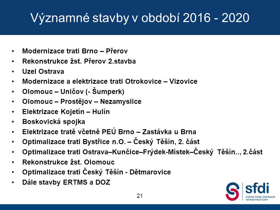 Významné stavby v období 2016 - 2020