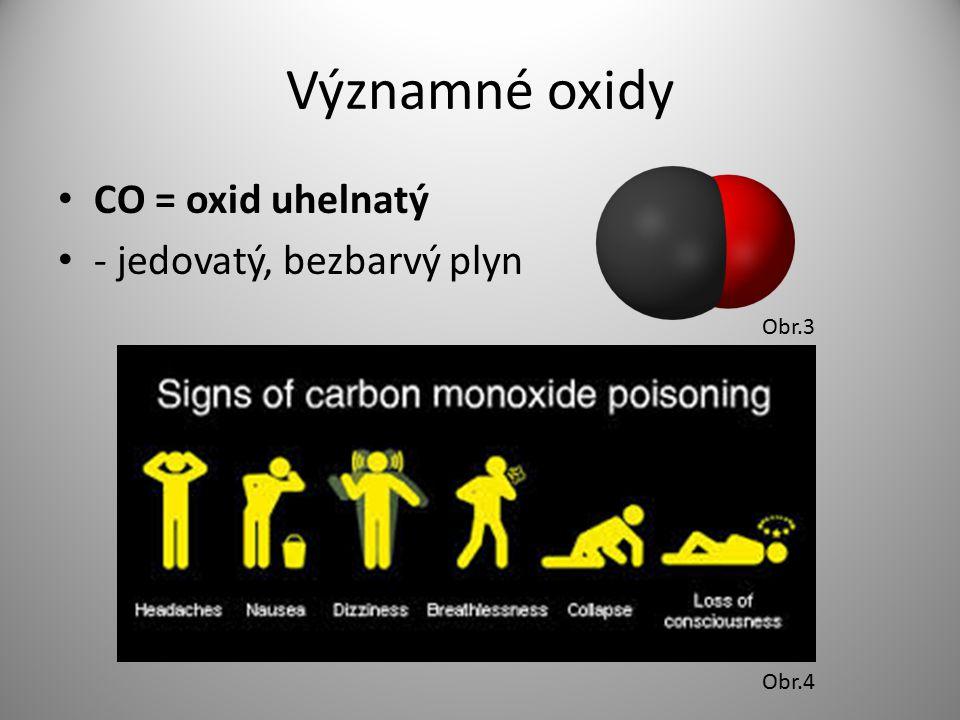 Významné oxidy CO = oxid uhelnatý - jedovatý, bezbarvý plyn Obr.3