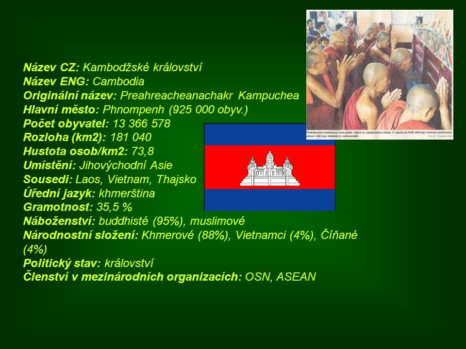 Název CZ: Kambodžské království Název ENG: Cambodia Originální název: Preahreacheanachakr Kampuchea Hlavní město: Phnompenh (925 000 obyv.) Počet obyvatel: 13 366 578 Rozloha (km2): 181 040 Hustota osob/km2: 73,8 Umístění: Jihovýchodní Asie Sousedi: Laos, Vietnam, Thajsko Úřední jazyk: khmerština Gramotnost: 35,5 % Náboženství: buddhisté (95%), muslimové Národnostní složení: Khmerové (88%), Vietnamci (4%), Číňané (4%) Politický stav: království Členství v mezinárodních organizacích: OSN, ASEAN