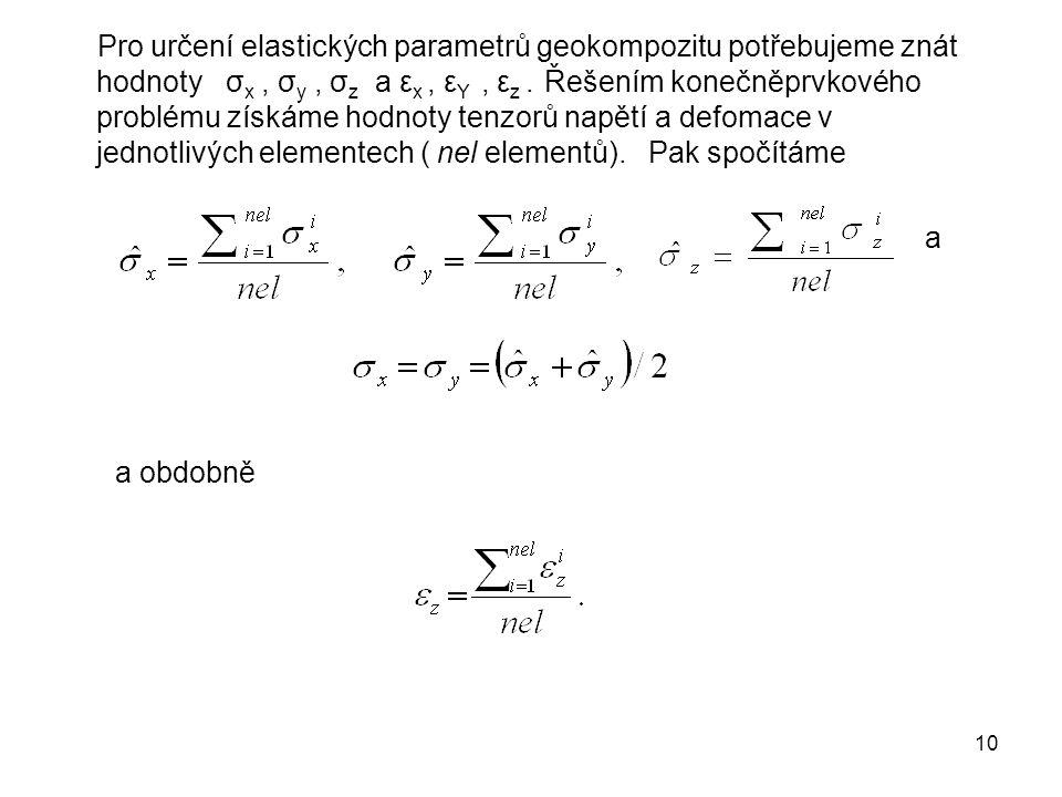 Pro určení elastických parametrů geokompozitu potřebujeme znát hodnoty σx , σy , σz a εx , εY , εz . Řešením konečněprvkového problému získáme hodnoty tenzorů napětí a defomace v jednotlivých elementech ( nel elementů). Pak spočítáme