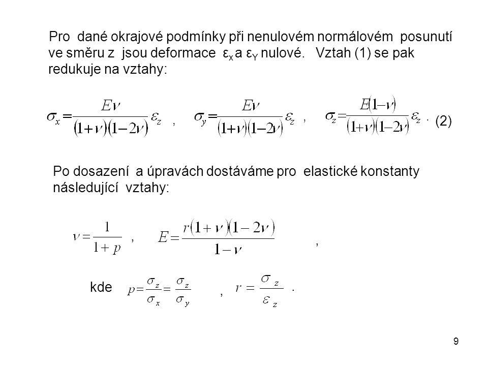 Pro dané okrajové podmínky při nenulovém normálovém posunutí ve směru z jsou deformace εx a εY nulové. Vztah (1) se pak redukuje na vztahy: