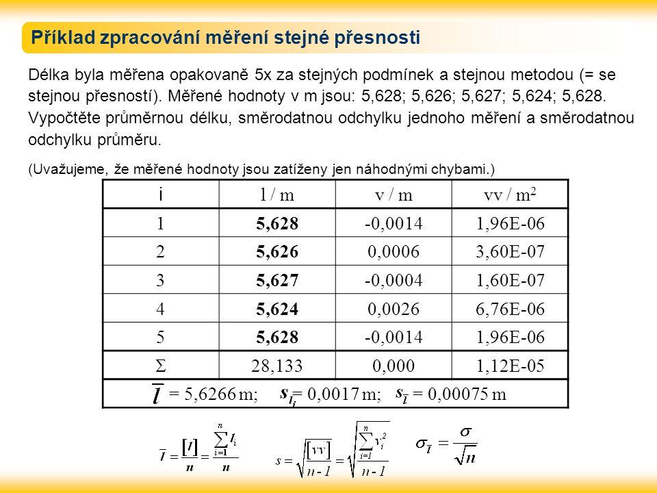 Příklad zpracování měření stejné přesnosti