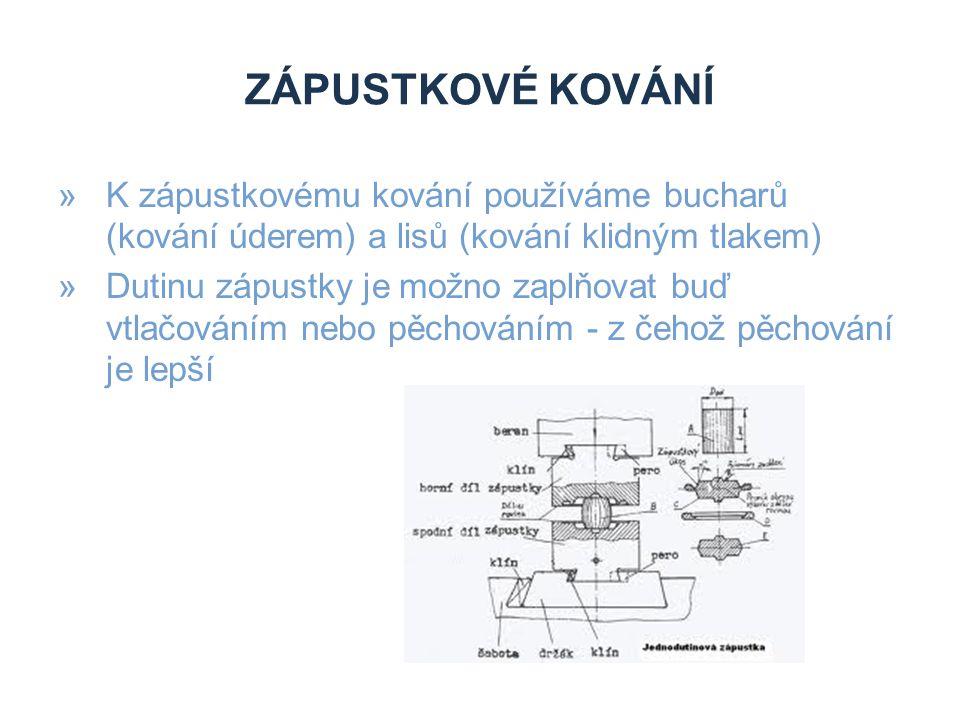 Zápustkové kování K zápustkovému kování používáme bucharů (kování úderem) a lisů (kování klidným tlakem)