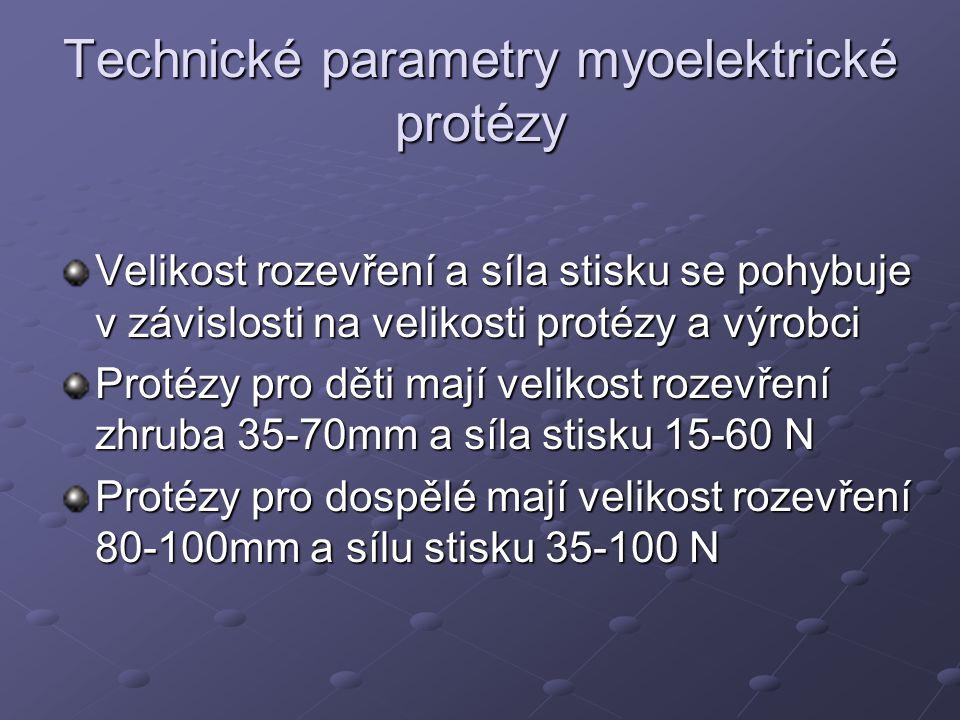 Technické parametry myoelektrické protézy