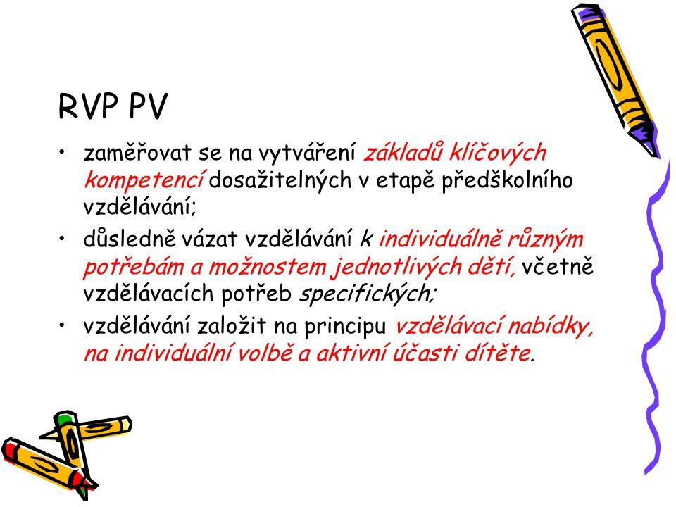 RVP PV zaměřovat se na vytváření základů klíčových kompetencí dosažitelných v etapě předškolního vzdělávání;
