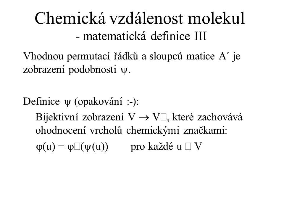 Chemická vzdálenost molekul - matematická definice III