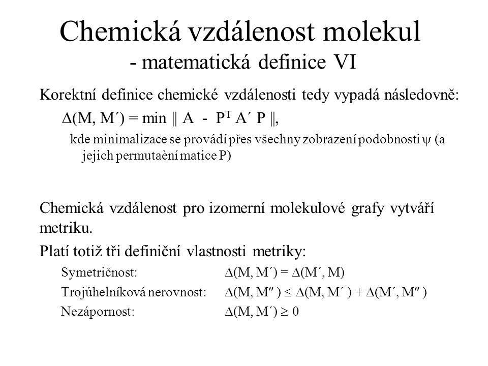 Chemická vzdálenost molekul - matematická definice VI