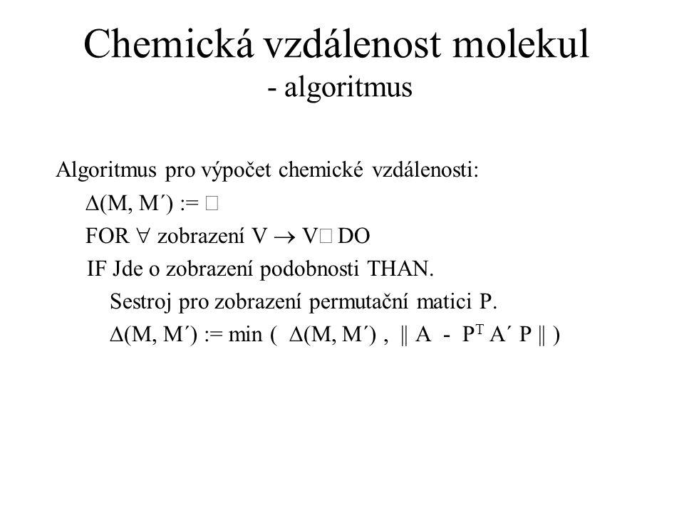 Chemická vzdálenost molekul - algoritmus