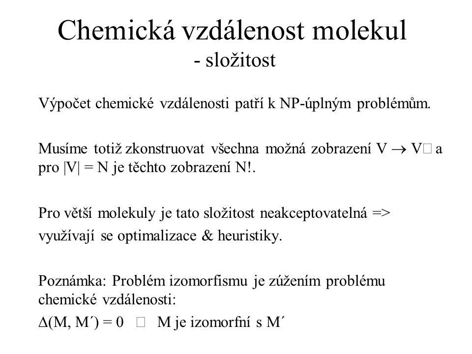 Chemická vzdálenost molekul - složitost
