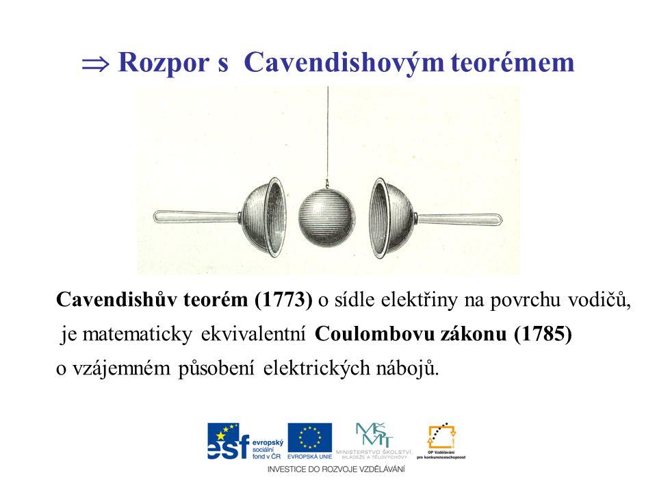  Rozpor s Cavendishovým teorémem