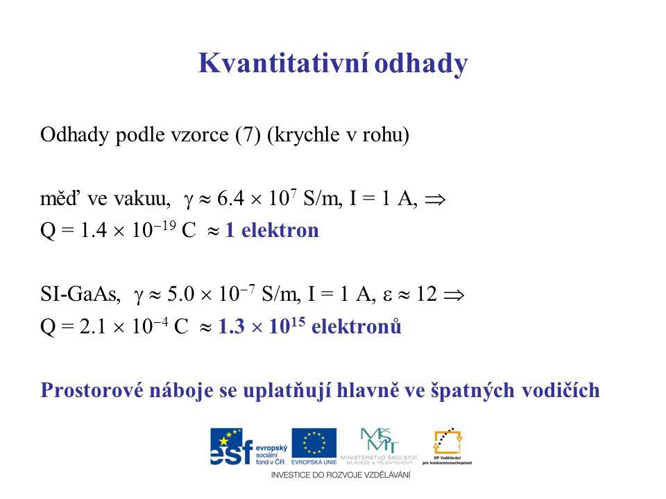 Kvantitativní odhady Odhady podle vzorce (7) (krychle v rohu)