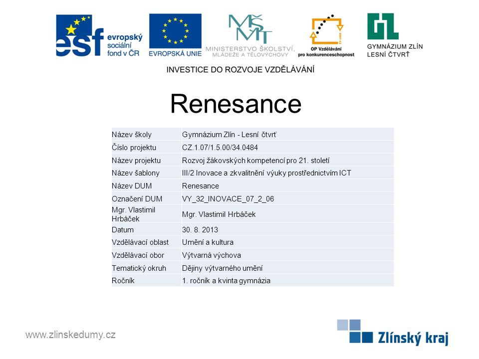 Renesance www.zlinskedumy.cz Název školy Gymnázium Zlín - Lesní čtvrť