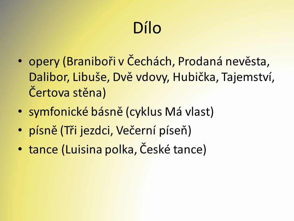 Dílo opery (Braniboři v Čechách, Prodaná nevěsta, Dalibor, Libuše, Dvě vdovy, Hubička, Tajemství, Čertova stěna)