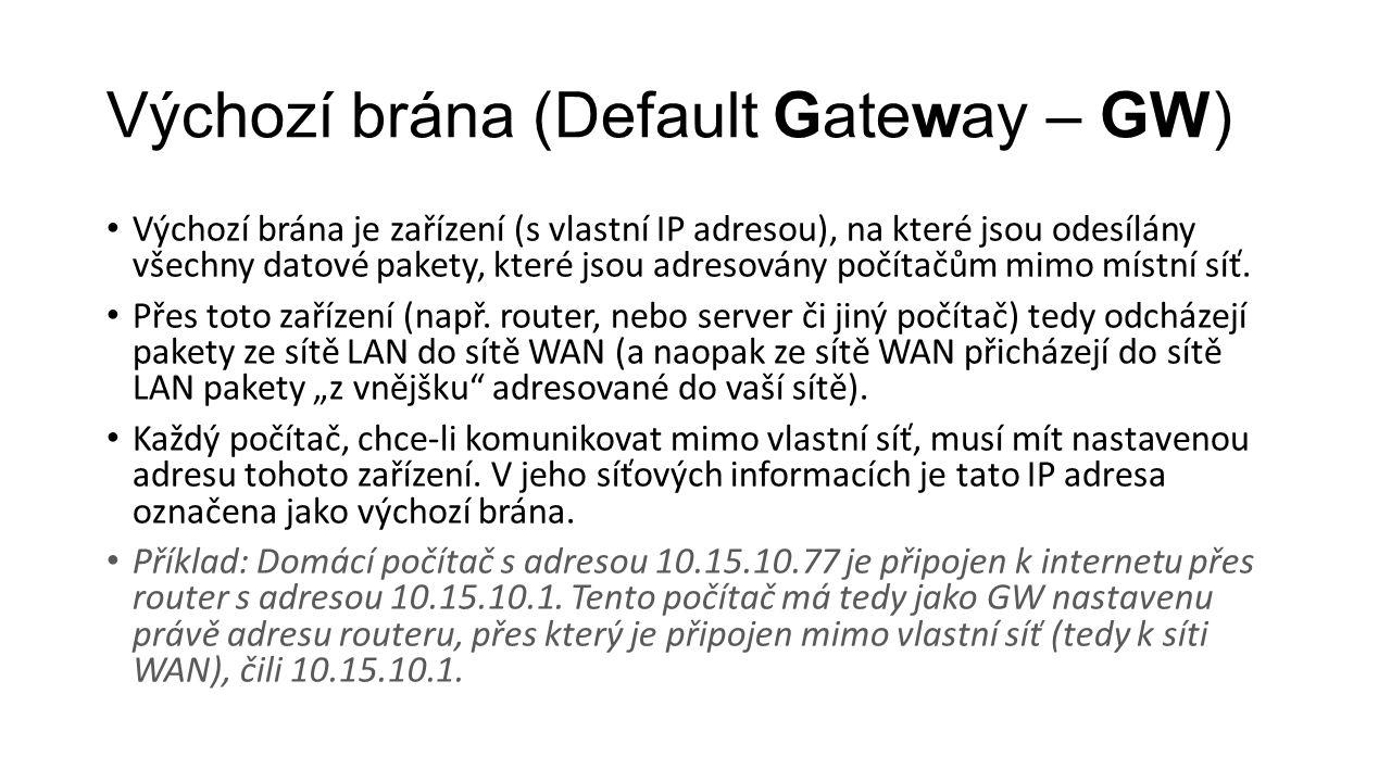 Výchozí brána (Default Gateway – GW)